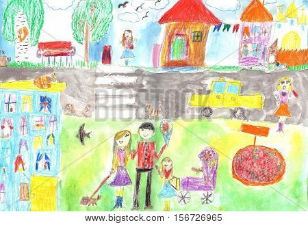 Child's drawing happy family road car Mother with a pram