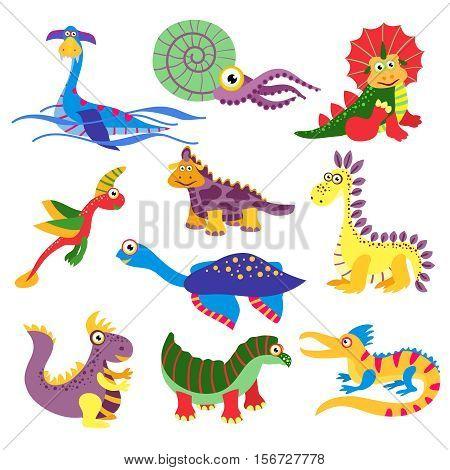 Prehistoric cute dinosaurus vector illustration isolated on white background. Set of charactes dinosaurus in colored, wild animal dinosaur