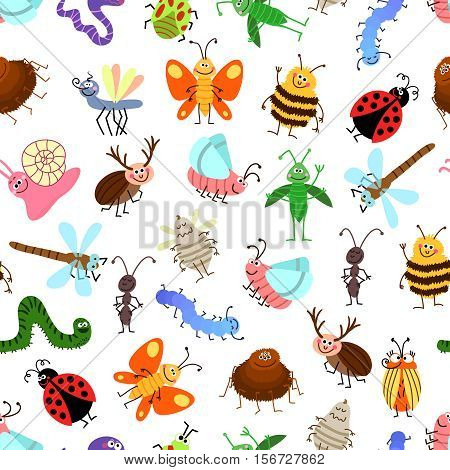 Fly and creeping cute cartoon insects vector pattern for happy kids. Background with characters insects, illustration of winged insects