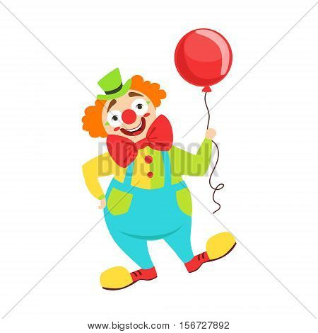 Circus Clown Artist In Classic Outfit With Red Nose And Make Up Holding A Balloon In The Circus Show. Colorful Cartoon Illustration From The Collection Of Entertainment Performers And Circus Arena Vector Drawings