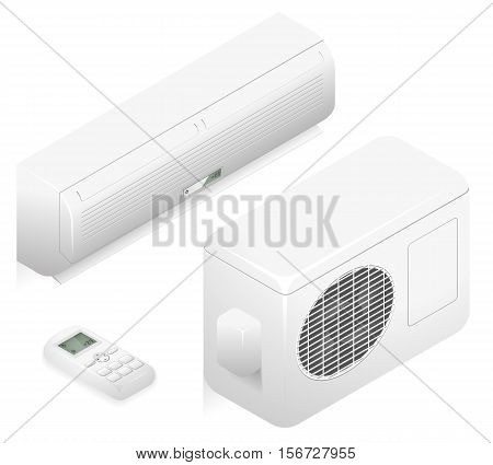 White air conditioner for climate control in office. 3d vector home summer air conditioning system. Conditioner for ventilation air illustration