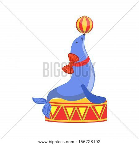 Circus Trained Sealion Animal Artist Performing Holding The Ball On The Nose Stunt For The Circus Show. Colorful Cartoon Illustration From The Collection Of Entertainment Performers And Circus Arena Vector Drawings