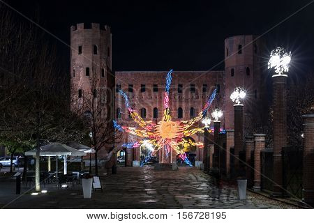 Turin,Italy,Europe - November 28, 2015 : Night view of the sun on the Palatine Towers at Christmas time