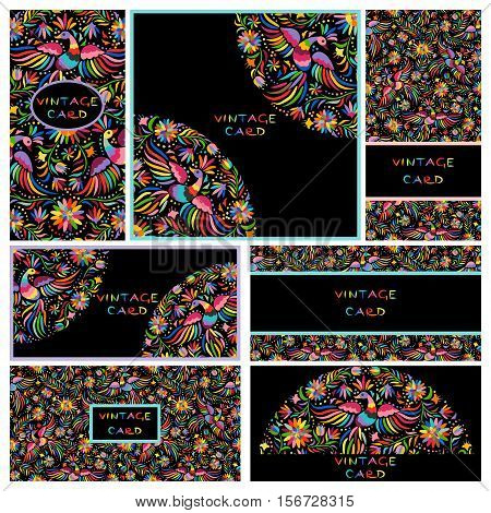 Vector set of artistic creative business cards with black Floral Mexican embroidery pattern and ornaments. Hand Drawn textures. Applicable for wedding, anniversary, birthday, Valentine day, party. Design for covers, banner, poster, card, invitation, placa