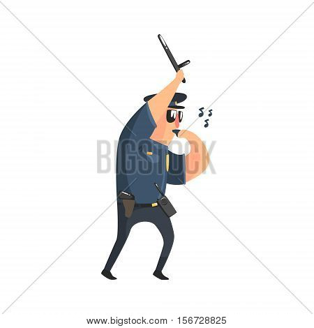 Policeman In American Cop Uniform With Truncheon, Radio, Gun Holster And Sunglasses Whistling. City Police Officer Fun Cartoon Character In Classic Outfit On Duty Illustration.