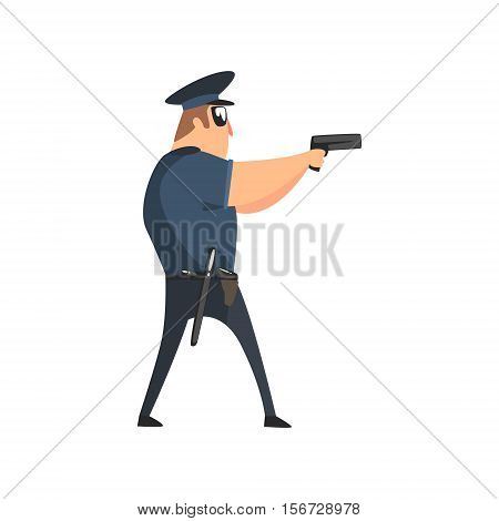 Policeman In American Cop Uniform With Truncheon, Radio, Gun Holster And Sunglasses Covering The Area With Pistol. City Police Officer Fun Cartoon Character In Classic Outfit On Duty Illustration.