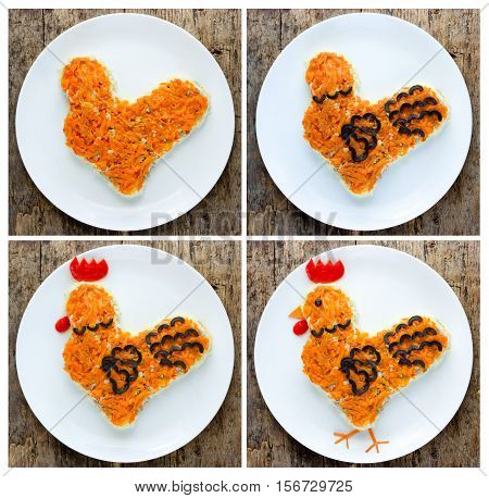 Festive salad shaped rooster or symbol of New Year 2017 on the Chinese calendar. Symbolic food at holiday dinner recipe step by step