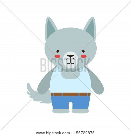 Wolf In White Sleeveless Top And Jeans Cute Toy Baby Animal Dressed As Little Boy. Part Of Adorable Standing Humanized Fauna Characters Collection Flat Vector Illustration.