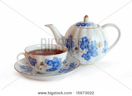 Old Fashioned Vintage Porcelain Cap with Saucer and Teapot. poster