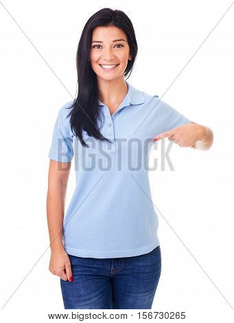 Smiling Woman Showing Empty Copyspace On Blue Polo Shirt