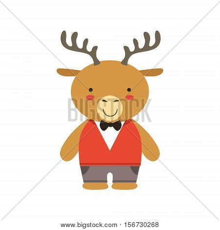 Deer In Red Vest And Bow Tie Cute Toy Baby Animal Dressed As Little Boy. Part Of Adorable Standing Humanized Fauna Characters Collection Flat Vector Illustration.