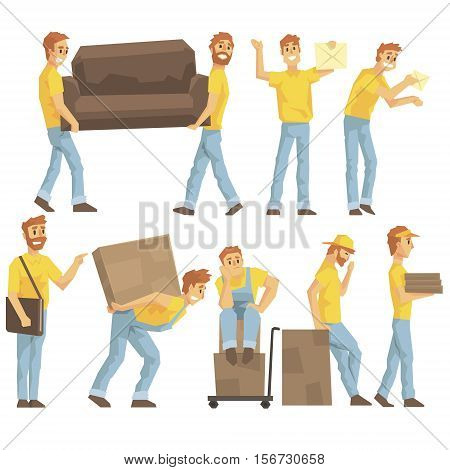 Delivery And Moving Company Employees Carrying Heavy Objects, Delivering Shipments And Helping With Resettlement Set OF Illustrations. Manual Laborer Loading And Bringing Items Colorful Cartoon Characters In Uniform.