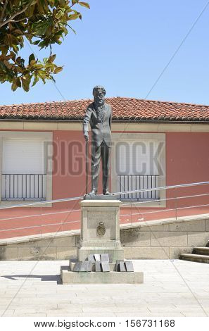 POBRA, SPAIN - AUGUST 10, 2016: Memorial monument to the Spanish poet Valle Inclan in the village of Pobra in the province of Corunna Galicia Spain.