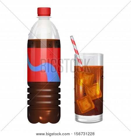 Glass of cola with ice cubes and cola in bottle. Vector illustration