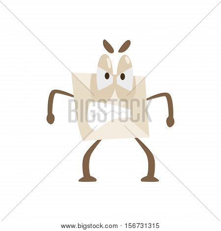 Enraged Humanized Letter Paper Envelop Cartoon Character Emoji Illustration. Part Of Mail Cover Funny Character With Arms And Legs Emotional Facial Expression Vector Collection