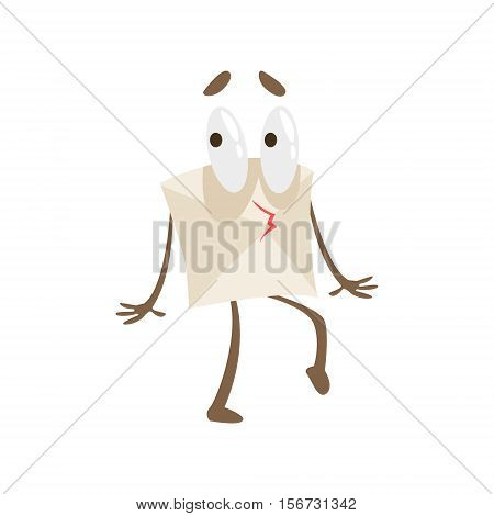 Tiptoeing Humanized Letter Paper Envelop Cartoon Character Emoji Illustration. Part Of Mail Cover Funny Character With Arms And Legs Emotional Facial Expression Vector Collection