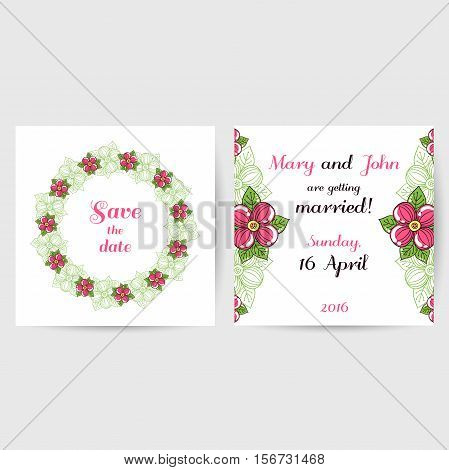 Wedding invitation with hand drawn pink flowers on white background. Vector illustration.
