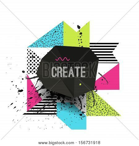Vector Creative Modern Illustration With Polygonal Frame, Geometric Shapes And Grunge Splash. Abstra