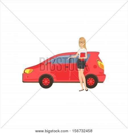 Happy Self-made Business Lady With Her Red Car In Office Dress Code Outfit Clothing, Part Of Women Different Lifestyles Collection. Smiling Woman Enjoying Her Every Day Life Colorful Cartoon Vector Illustration.
