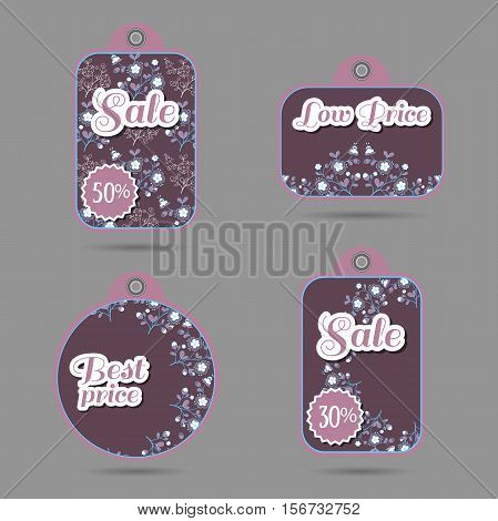 Set of price tags with hand drawn flowers on violet. Vector illustration.