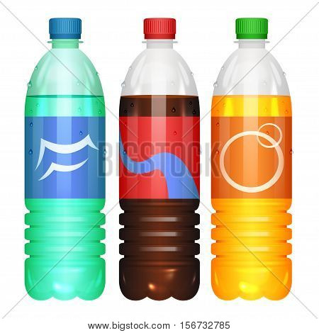 Bottles of soda drinks. Vector color illustration