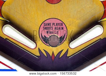 Flippers of a vintage pinball game table