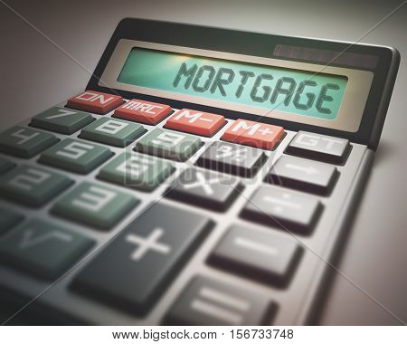 Solar calculator with the word MORTGAGE on the display. 3D illustration concept image of Business and Finance.