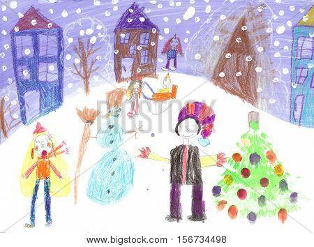 Watercolor Children Drawing. Kids winter sleigh ride