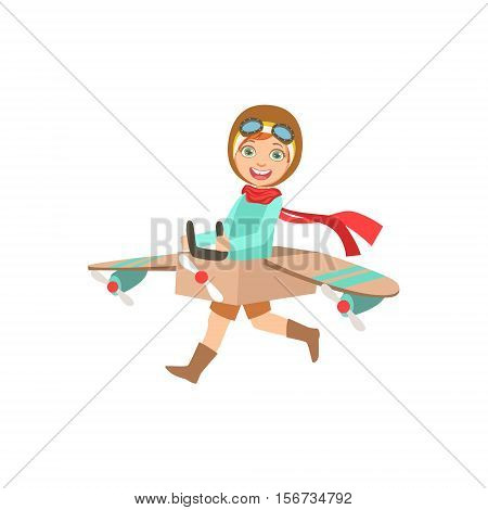 Little Boy In Vintage Pilot Leather Outfit Playing Piloting The Plane Game With The Costume Of The Airplane. Young Kid Dreaming About Flying The Military Fighter Aircraft Illustration.