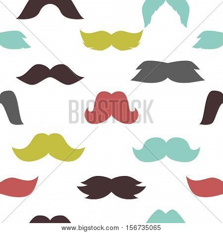 Mustaches seamless pattern hipster doodle curly beard vector. Mustaches seamless pattern elements barber silhouette facial design. Fashion color vintage mustaches pattern background.