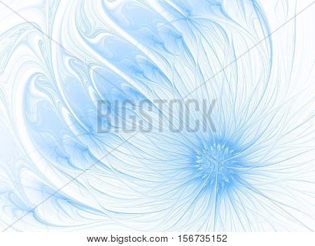 Computer generated image of abstract fractal lapis blue flower. Trendy color 2017. Fractal art background for creative design.