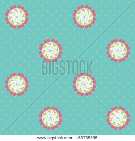 Vector seamless background. Strawberries and polka dots. Calico pattern.