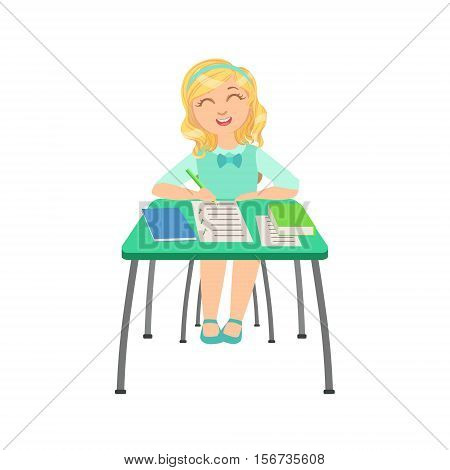 Schoolgirl Sitting Behind The Desk In School Class Ticking Boxes In Test Paper Illustration, Part Of Scholars Studying Vector Collection. Happy Teenage Student In Uniform Having Good Time At Studies.