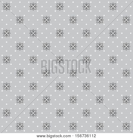 Seamless vector background. Floral calico pattern and polka dots. Easy to change colors.