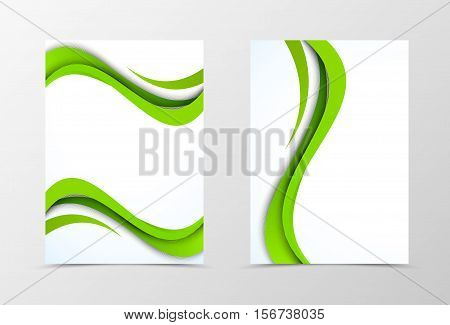 Front and back wave flyer template design. Abstract template with green bend lines in bright style. Vector illustration