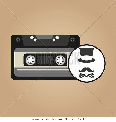 music cassette hat mustache bow tie vintage background desgin vector illustration eps 10
