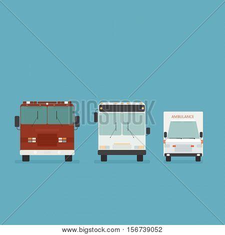 urban transport icons. bus, fire truck, ambulance. simple flat image