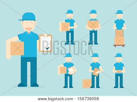 Courier holding a package. delivery man in different situations