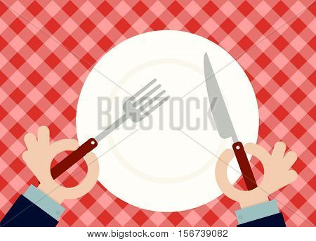 Man holding fork and spoon with empty plate. Flat vector image. Top view