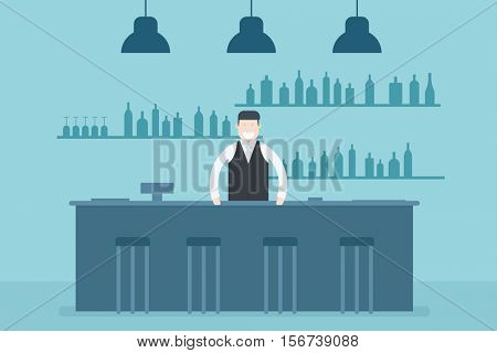 Bartender standing at the bar counter. Flat character