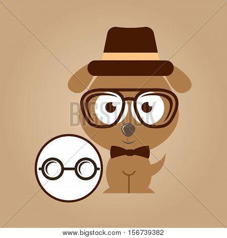 doggy hipster concept, glasses vintage vector illustration eps 10