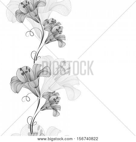 Hand-drawing monochrome seamless floral background with flowers lily. Element for design. Vector illustration.