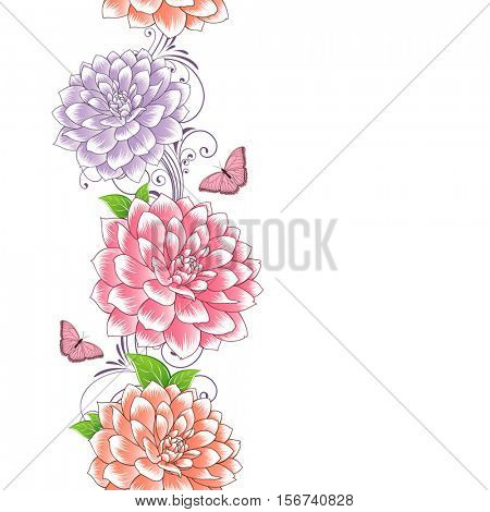 Beautiful abstract seamless hand drawn floral pattern with dahlias flowers and butterflies. Vector illustration. Element for design.