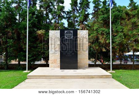 RETHYMNO GREECE - 08.09.2016: hellenic australian memorial monument landmark