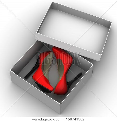 Women's shoes are in the white box. Red female shoes with high heels are in the white box. 3D Illustration. Isolated