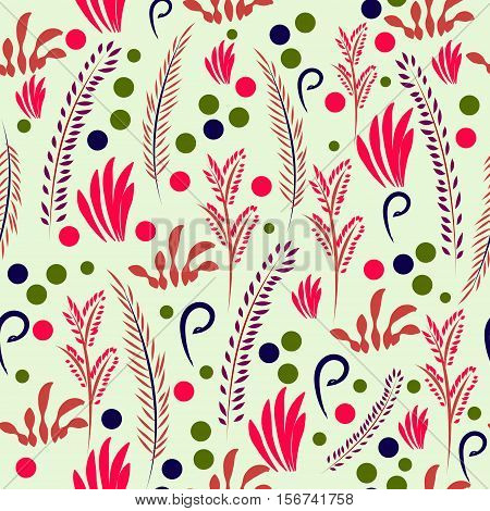 Hand drawn vector seamless flower pattern. Abstract twigs, leaves and berries spread randomly. Pastel colors