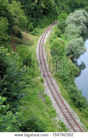 OZALJ, CROATIA - JUNE 11: Old railroad curve near Ozalj, Croatia on June 11, 2016