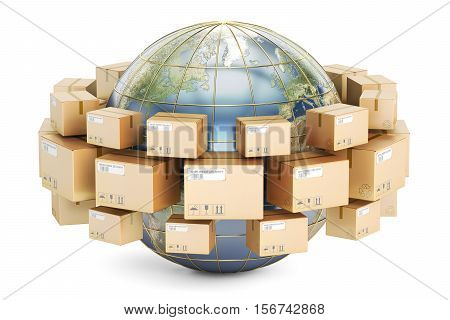 Global shipping and delivery concept parcels cardboard boxes around the Earth. 3D rendering isolated on white background