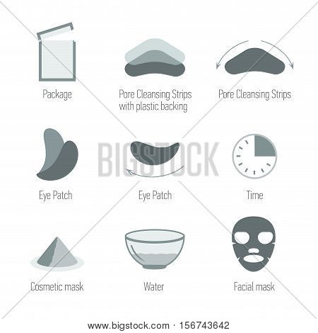 Facial skin care icons set. Cleansing the skin and maintain healthy skin. Skin health symbols collection. Isolated vector illustration. Pore Cleansing Strips Facial mask Eye Patch