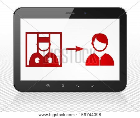 Law concept: Tablet Pc Computer with red Criminal Freed icon on display, 3D rendering